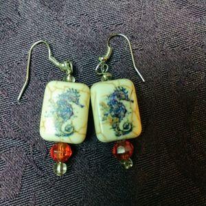 Seahorse Stone dangle earrings beads OOAK handmade